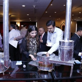 Ms. Saira Ahmed, Communication Specialist, SEC briefs a delegate on SAARC Improved Cooking Stoves (ICS).